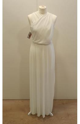 Vestido escote cruzado falda plisada