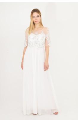 Vestido de novia manga corta con encaje y pedrería